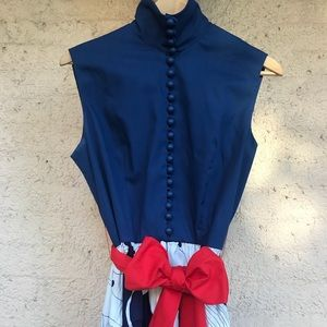 Vintage High Neck Floral Maxi Dress